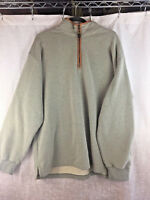 Orvis Green Knit Leather Trim Elbow Patch 1/4 Zip Pullover Sweater Men's XL