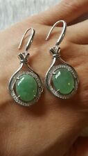 Genuine Beautiful 12.15ct Icy Jadeite Jade (Type A) 925 Silver Dangled Earring