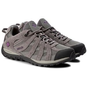 COLUMBIA REDCREST CHARCOAL /RAZZLE WATERPROOF LOW RISE HIKING SHOES UK 4 / 5