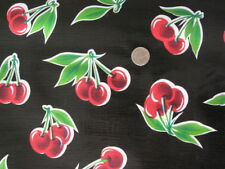 BLACK CHERRY STELLA RETRO KITCHEN PICNIC PATIO OILCLOTH VINYL TABLECLOTH 48x84