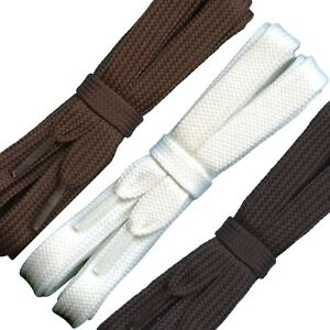 Strong flat Boot Laces - 12 mm wide - Black White Brown - Laces 90 cm to 240 cm