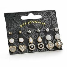 NINE PAIRS GOLD COLOUR WHITE TONE STUD EARRING SET TEAR HEART PEARL CRYSTAL GIFT