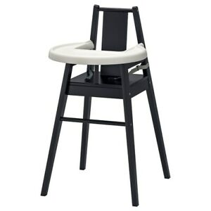 Black Solid Wood High Chair with Tray - Vert Good Condition