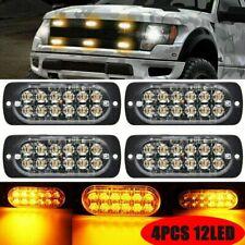 4X 12 LED Auto Frontblitzer Orange Blitzer Warnlicht Stroboskoplicht für 12-24V