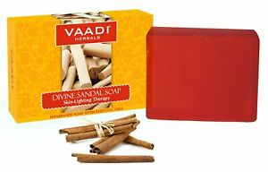 Vaadi Herbals Divine Sandal Soap With Saffron & Turmeric 75gm Hydrates & Soothes