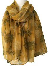 Trees Scarf Ladies Mustard Yellow Tree Print Wrap Floral Shawl Flower Sarong