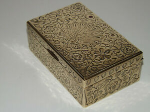 Vintage Indian Brass Engraved Box With Central Peacock Motif & Foliage Surround