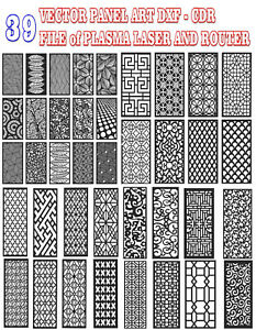 39 VECTOR PANEL art DXF Eps CDR Ai FILE of PLASMA LASER AND ROUTER Cut - CNC