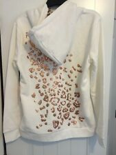 Juicy Couture Women's White Rose Gold Sequin Bling Faux Animal Fur Hoodie Large