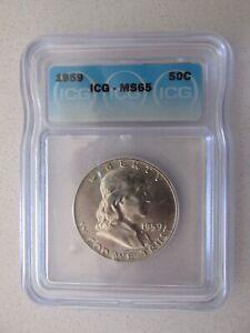 1959 Franklin Silver Half Dollar MS65