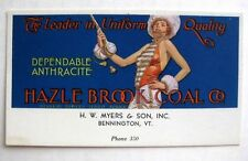 1930s Advertising Blotter for Hazel Brook Coal  w/ Majorette Bennington , VT