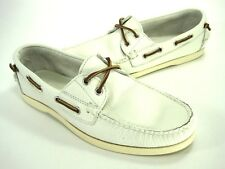 RALPH LAUREN MENS TELFORD CASUAL BOAT SHOE WHITE LEATHER US SIZE 9.5 MEDIUM (D)