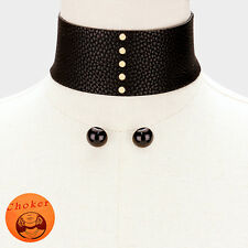 """1"""" black gold stud faux leather choker collar necklace .60"""" earrings 2"""" wide"""