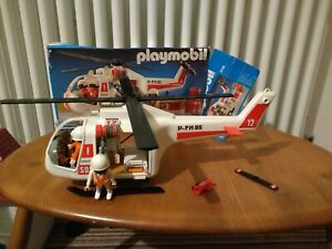 Vtg Playmobil 3789 SOS helicopter 2 figures accessories needs parts added Rescue