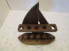 Walnut Wood 5 pipe holder Sailing Ship Boat Pipe rest Nautical Mid -century Vtg