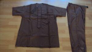 "African  Men's Loose Shirt / Top & Trousers ""Senator Style"" - Brown - UK Small"