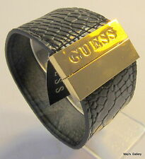 GUESS ??? Jeans Cuff  faux leather Bangle  Bracelet Black Gold Tone Charms  NWT