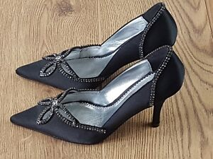 Bourne Ladies Court Shoes New Black Diamante Wedding Evening Party Cocktail  xyy