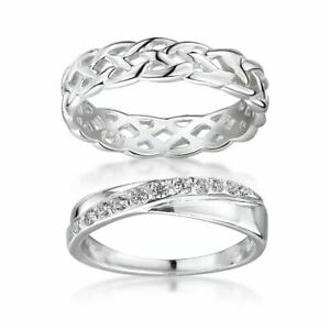 Amberta Sterling Silver Ring for Women Eternity and Crossover Band with Zirconia