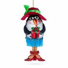 Penguin Dressed Blown Glass Christmas Ornament