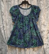TEAL BLUE PAISLEY PEBBLE SOFT STRECH KNIT SMOCKED BOHO PEASANT TOP BLOUSE~2X~NEW