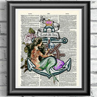 Original ART Print DICTIONARY ANTIQUE BOOK PAGE Tattooed Mermaid Nautical Poster