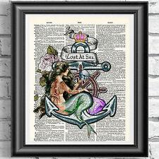 Original ART Print DICTIONARY ANTIQUE BOOK PAGE Tattooed Mermaid Nautical Poster