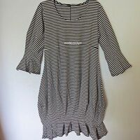 BORIS INDUSTRIES cooles Ballon Kleid Lagenlook Streifen schwarz-silbergrau 48(5)