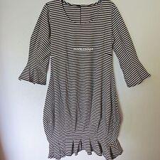 BORIS INDUSTRIES cooles Ballon Kleid Lagenlook Streifen schwarz-silbern 48(5)