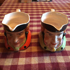 VTG Set of 2 Colonial Man Keele England Toby Jugs - See Pictures