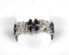 Flower Shape Sapphire & Diamond Cluster Fashion Ring Band 14K White Gold .46Ct