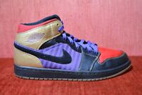WORN TWICE NIKE AIR JORDAN 1 LEROY SMITH BLACK GOLD RED 386186-071 Size 10.5