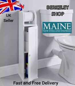 Maine Toilet Roll Holder with Bathroom Storage cabinet Free Standing White