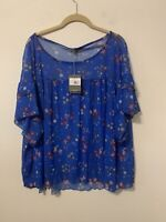 NWT M Made in Italy Cobalt Blue Floral Print Sheer Blouse Top Size XL