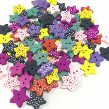 100 Multicolor Star Shape Wood Sewing Buttons Scrapbooking Knopf 2 Holes UK