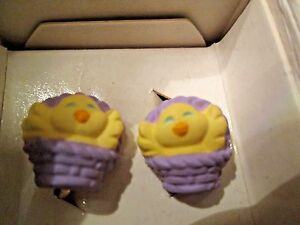VINTAGE AVON**PRETTY PEEPER COLLECTION**CLIP EARRINGS**NEW IN BOX**1993*CUTE