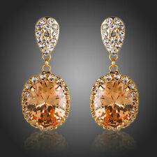 New 18K GOLD GP Made With SWAROVSKI ELEMENTS CRYSTAL EARRING Wedding Party 134