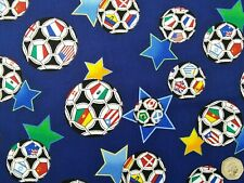 Navy Blue with Footballs and Stars Fabric by Timeless Treasures, 100% Cotton, 2M