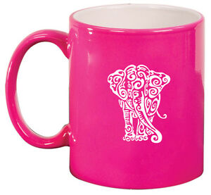 11oz Ceramic Coffee Tea Mug Glass Cup Tribal Elephant