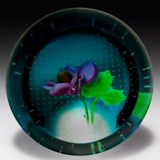 Caithness Glass June Rose glass paperweight front facet