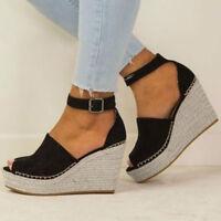 Women's Flatform Polish Sewing Up Toe Wedge Buckle Sandals Women's Shoes