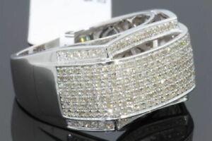 10K WHITE GOLD 1.09 CARAT MENS REAL DIAMOND ENGAGEMENT WEDDING PINKY RING BAND
