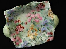 Shelley Trinket/Soap/Sweet Dish c. 1920's Green Floral Pattern/Square/Handled
