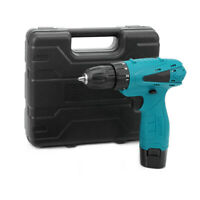 12V Electric Drill Handheld Cordless Screwdriver Set with Carrying Case Battery