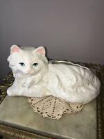 Pottery Cat Planter White Ceramic Cat Vase
