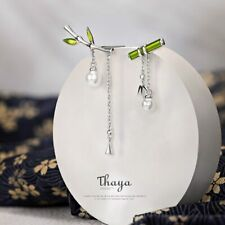 Green Bamboo Dangle Silver Earring Retro Style Xmas Gifts For Her Daughter Women
