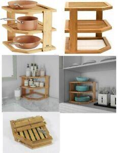 3 Tier Bamboo Corner Kitchen Cupboard Plate Dish Holder Stand Storage Shelf Rack