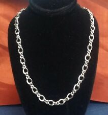 """Sterling 925 Fancy Link  Chain Necklace  23""""  Long 22 Grams Made In ITALY"""