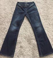 SILVER  SUKI SURPLUS Jeans Size 27, Stretch Medium Wash Bootcut, back flap