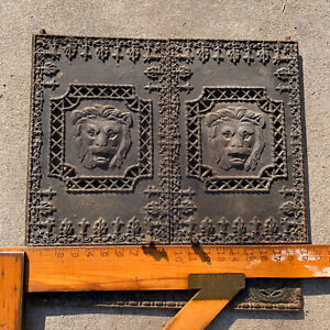 Antique Hardware Metal Fire Place Doors Lion Heads